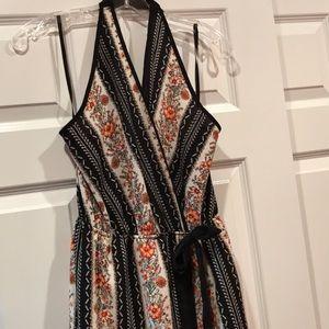Monteau floral orange coral halter dress large